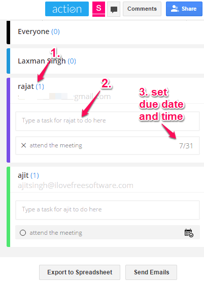 assign a task to collaborator with due date and time