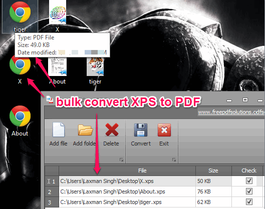 bulk Convert XPS to PDF documents for free