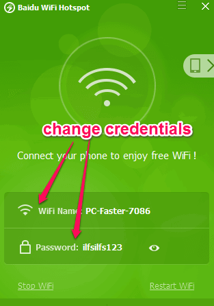change hotspot credentials