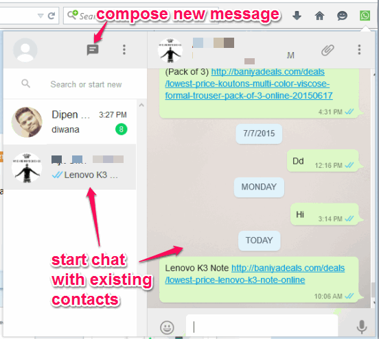 chat with WhatsApp friends using the pop-up window
