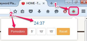 click plugin icon to start a pomodoro