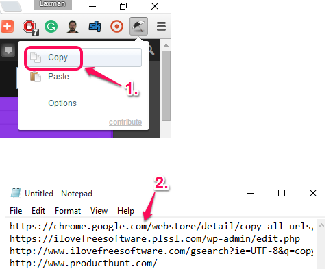 copy URLs of all opened tabs