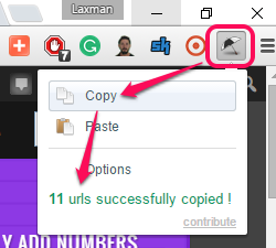 copy URLs of opened tabs in one click