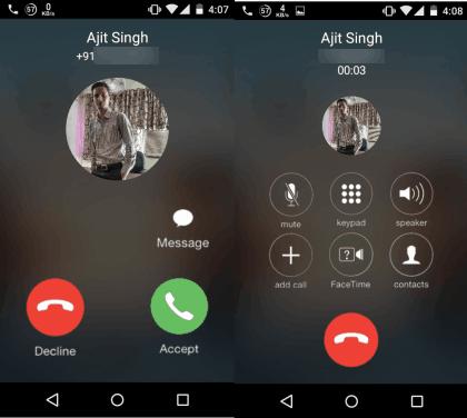 iOS 8 Incoming Call Screen
