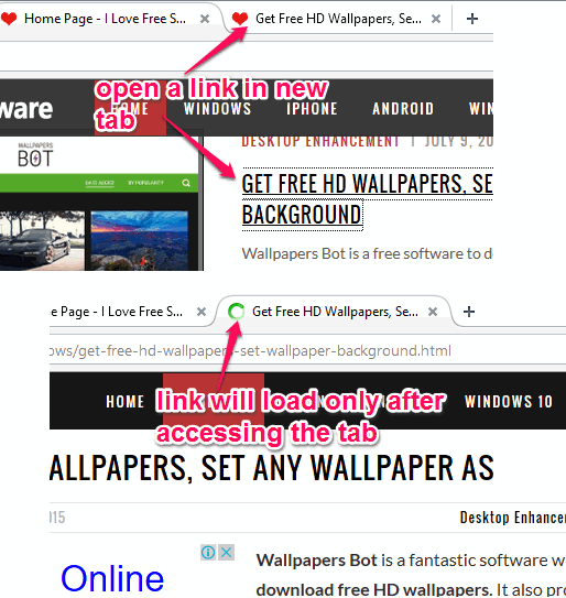 install this add-on to load a link only after accessing that particular tab