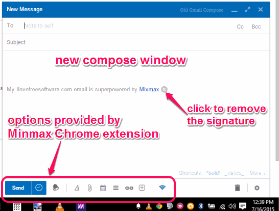 new enhanced Gmail compose window and options provided by Minmax