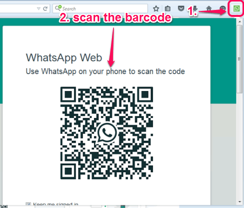 open pop-up window and scan the barcode