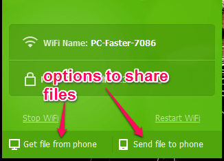 options to share files between PC and connected devices