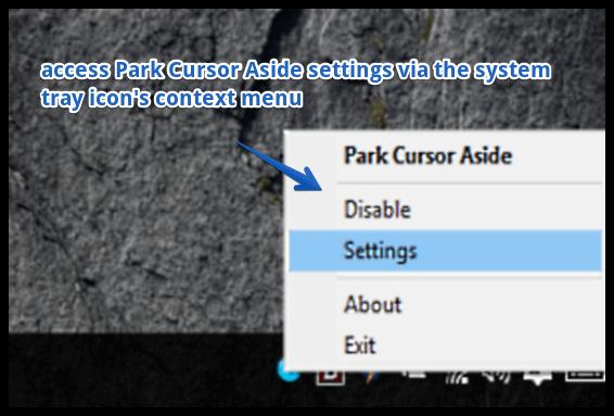 park cursor aside settings
