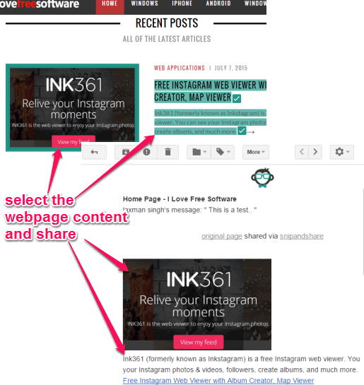 select and share online text, images, links, videos, etc.