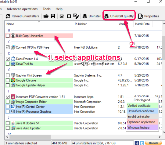 select applications and use Uninstall quietly option