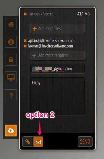 send sharing link to email addresses of recipients