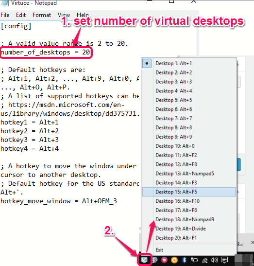 set number of virtual desktops