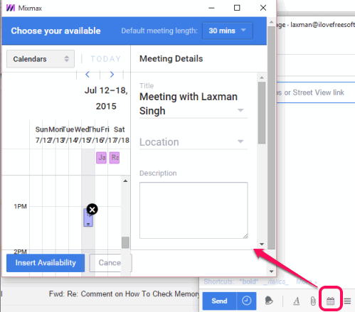 share available times to schedule a meeting