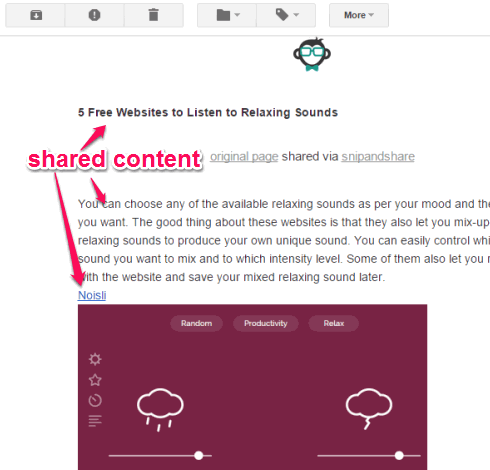 shared content received in email