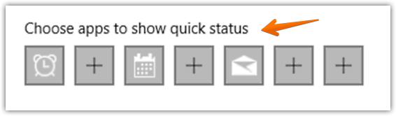 windows 10 choose apps to show quick status