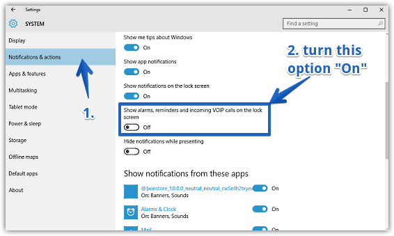 windows 10 enable alarms reminders and voip calls
