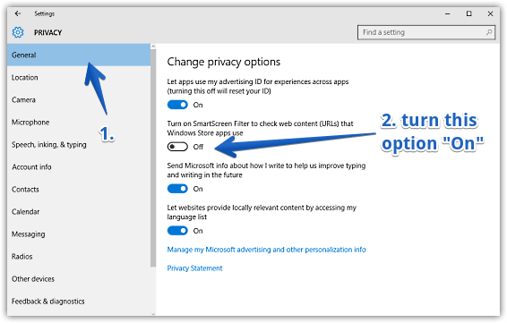 windows 10 enable smartscreen filter for apps web content access