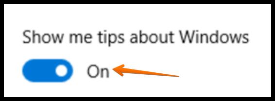 windows 10 show helpful tips