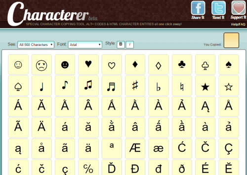 Characterer- homepage