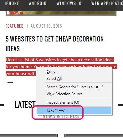 Context Font- check font of selection