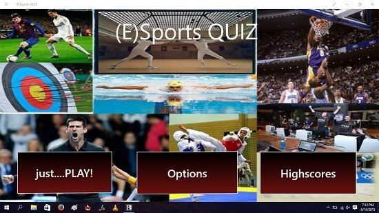 (E)Sports Quiz main screen