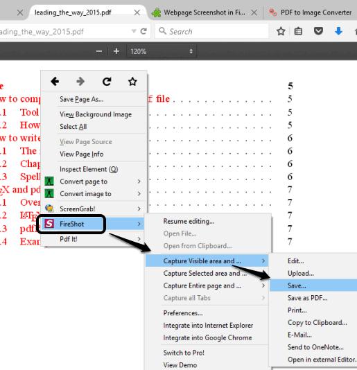 FireShot Firefox plugin context menu options