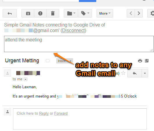 Firefox add-on to add notes to any Gmail email
