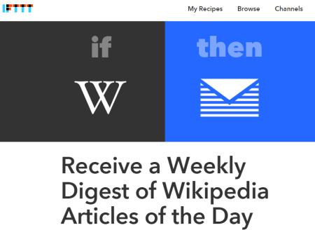 IFTTT recipe homepage
