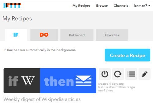 IFTTT recipe to automatically receive weekly digest of Wikipedia articles