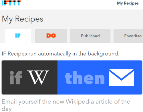 IFTTT recipe to get an email daily with Wikipedia Article of the Day
