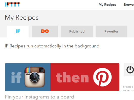 IFTTT recipe to post your Instagram photos to your Pinterest Board