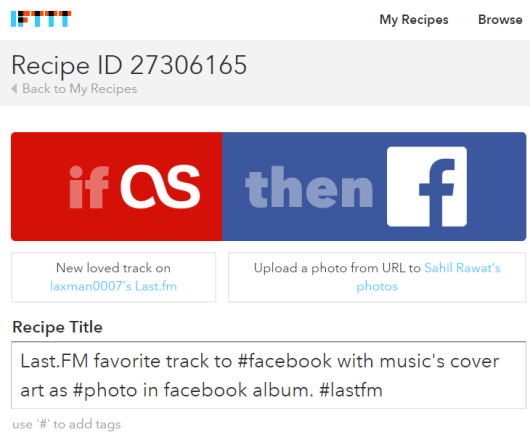 IFTTT recipe used to automatically post new loved tracks on Last.FM to your Facebook account