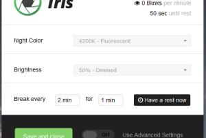 Iris- free eye protection software