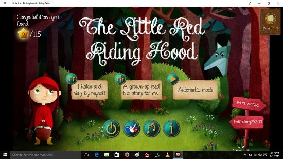 Little Red Riding Hood Shiny Tales Main Screen