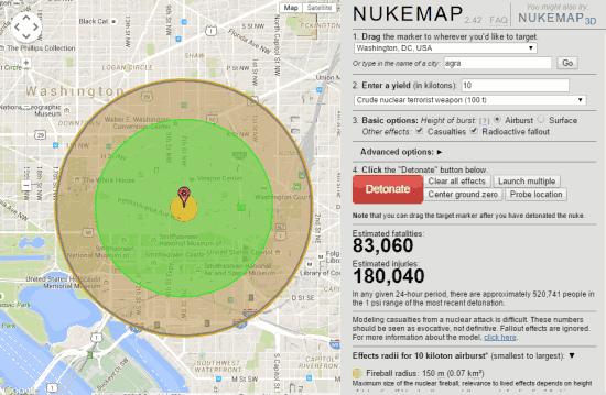 Nukemap- homepage