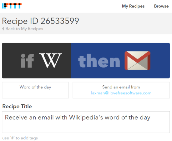 Recipe to automatically receive an email daily with Wikipedia Word of the Day