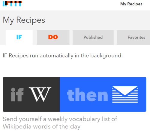 Recipe used to get weekly vocabulary list of Wikipedia word of the day