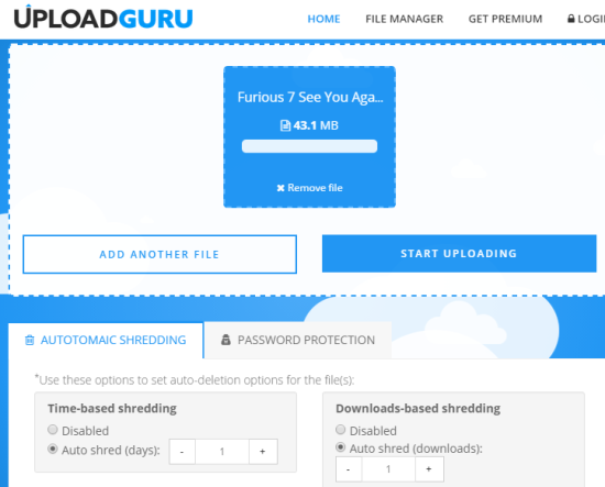 Upload GURU- share large files up to 1 GB size limit and 2 GB free storage space