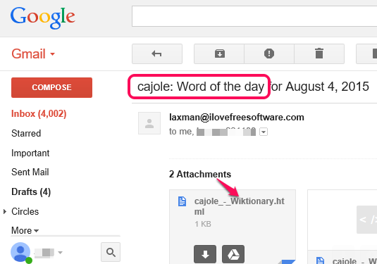 Wiktionary word of the Day in Gmail Inbox