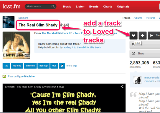 add a Last.fm track to Loved tracks
