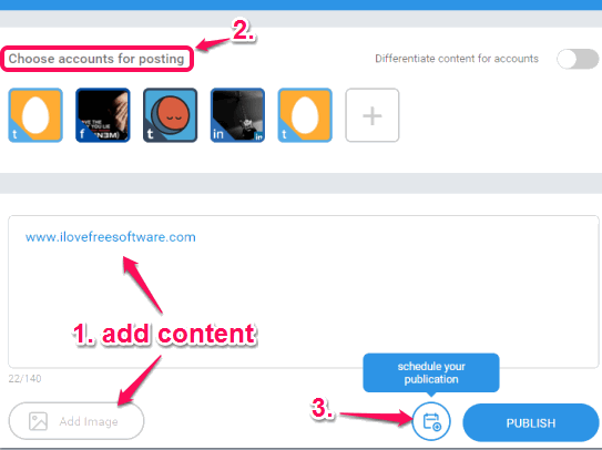 add content, choose accounts, and use Schedule button