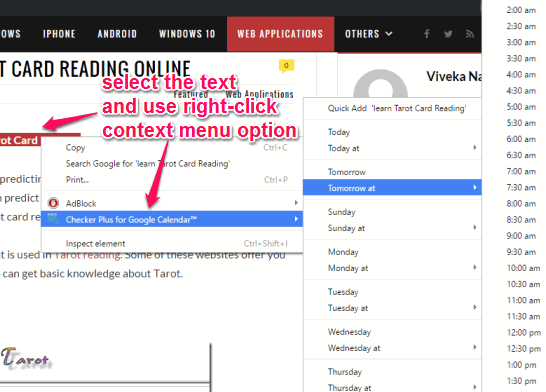 add webpage text as an event to your Calendar