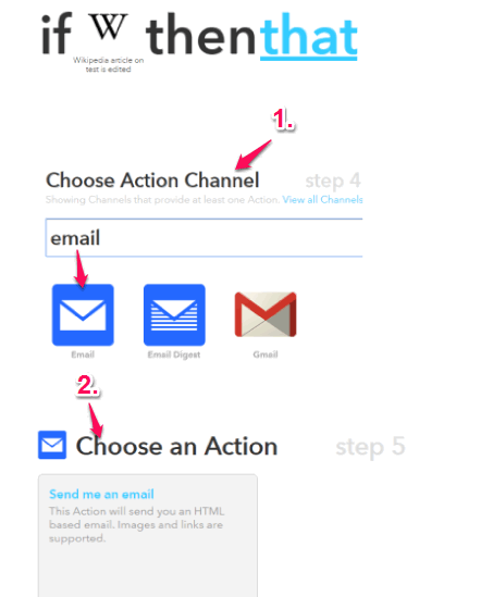 choose action channel and its action