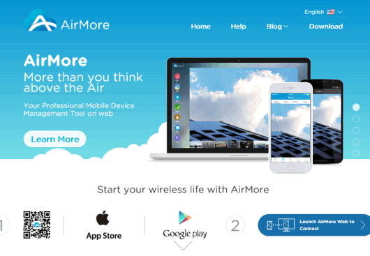 click launch AirMore Web to Connect button