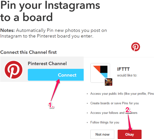 connect your Pinterest account with IFTTT