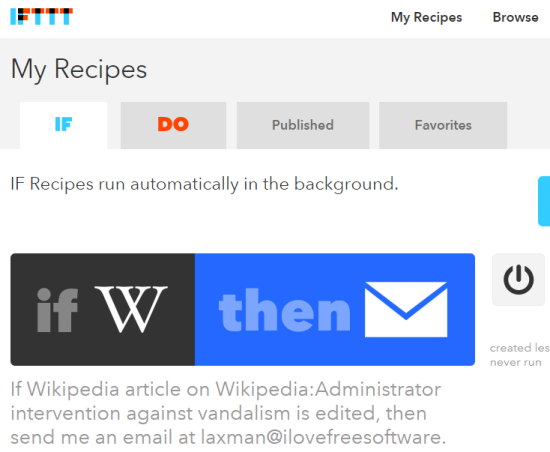 create a recipe to automatically get email when a particular Wikipedia article is edited