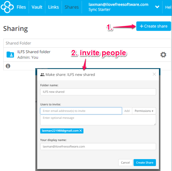 create a shared folder and collaborate with friends