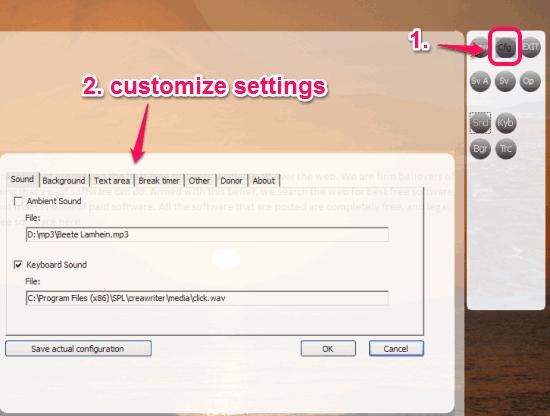 customize settings