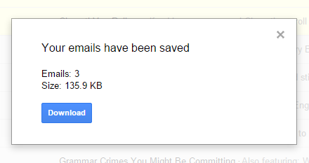 download the zip archive of emails